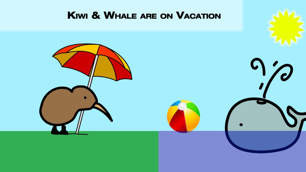 Emily Kiwi and George Whale playing waterball in the sunshine at the ocean. The kiwi is protected from the sun by a beach umbrella.